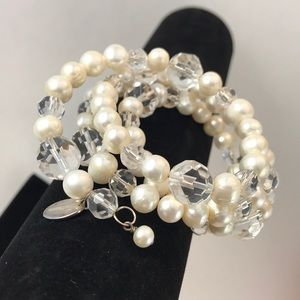 Real pearls and sterling silver wrap bracelet